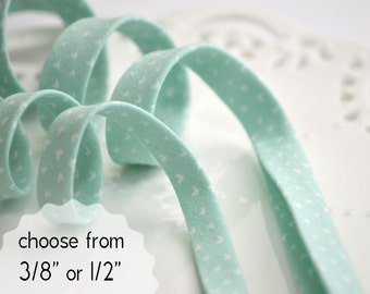 """tiny hearts on mint - double fold, bias tape - 3 yards, CHOOSE 3/8"""" or 1/2"""" wide"""