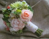 SALE - READY to SHIP large Bridal Bouquet - Rustic, Garden, Real Touch, Silk, Succulent, Rose, Blush, Green, Pink, Vintage, Destination