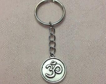 Silver Om Keychain