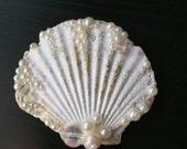 Gold and White Splash Seashell Hair Clip