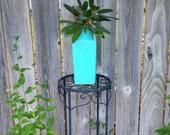 Glass Aqua Vase - High Gloss - Pop Art - Carved Glass Vase - Home Decor