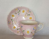 Antique English Teacup and Saucer 6 fl.oz. Bell China Pink White Floral Gold Gilt