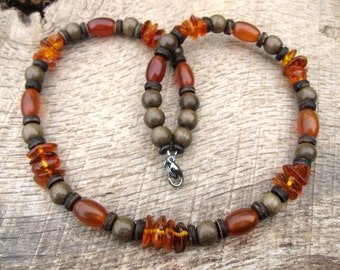 Mens amber necklace, baltic amber, horn, wood and coconut shell beads, beaded surfer necklace, handmade from earthy natural materials, OOAK