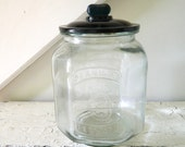 Vintage Peanut Jar Store Display with Lid 5 Cents Green Glass Large Octagon