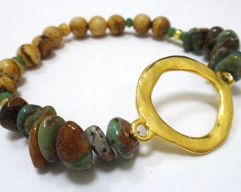 Tiger Eye Beaded Bracelet with Green Opal Nuggets, Gold/Green Spacers & Gold Circle Connector
