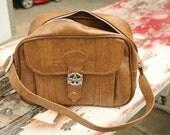 "SPRING CLEANING - New American Tourister Bag Traveler Messanger Shoulder Bag Carry On Manmade Vegan Brown, 14,5""x11""x6"""