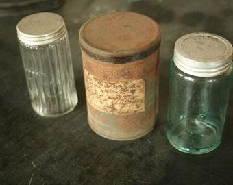 1890's hoosier kitchen decor, 3 antique containers, hoosier jar, blue jar, drugstore tin