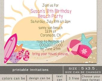 Printable Beach Fun Summer Stuff LUAU Pink Girls Beach Birthday Party Invitation Template