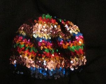 Rainbow Colored Sequin Cap