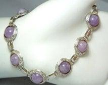 Lavender Bubbles 925 Link Bracelet, UFO Purple Gemstone Sterling Silver Disc Bracelet, Pastel Purple Chalcedony Gemstone Bracelet