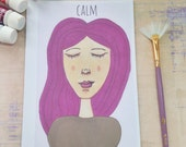 Calm Greeting Card. Perfect for mothers, daughters, sisters, friends and loved ones. Colourful art card for the warm hearted. Calm, serene.
