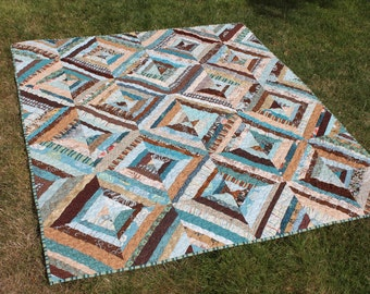 Lap Size String Quilt in Earthy Colors, Teal Blues, Browns, Creams and Tans, Handmade Modern Home Decor