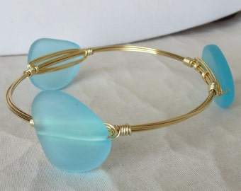 "Caribbean Blue Turquoise Sea Glass Bangle ""Bourbon and Bowties"" Inspired"