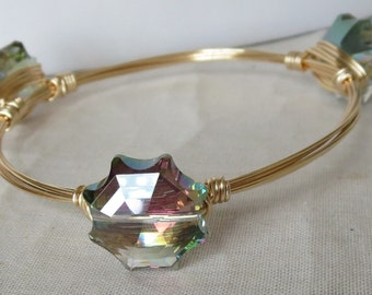 "Multi Color Star Crystal Bangle Bracelet ""Bourbon and Bowties"" Inspired"