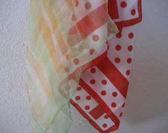 Vintage scarves.  Pastel and polka dots.  Lot of two.