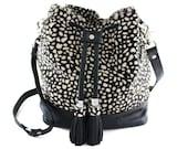 1 LEFT! Nicole Spotted Calf Hair & Leather Bucket Bag - Limited | Black + White | Hair On | Shoulder Bag | Crossbody | Tassel Bag | Handmade