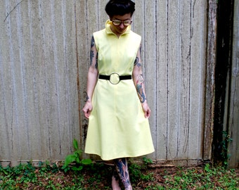 Mid Century Modern Mod Vintage Pale Yellow Dress size L