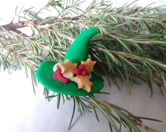 Green Witch Hat Yule Ornament. Christmas Ornament.  Winter Solstice Ornament. Pagan Ornament.