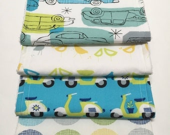 Blue Scooter Burp Cloths (Set of 4)