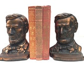 Copper Plated Abraham Lincoln Bookends, Mid Century Modern Home Decor, Christmas Gift For Husband Wife, BOOKENDS For Bookshelf, Abe Lincoln