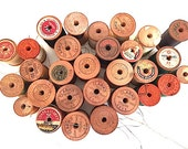 Wooden Clark Thread Spools - Lot of 30, Sewing Supplies, Notions, Materials, For MOM, Mercerized Boilfast Thread, Spools of Cotton Thread