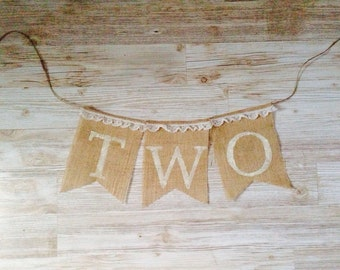Second 2nd Birthday Two Shabby Chic Burlap Banner Bunting
