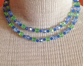 Free Shipping: Vintage 50s Sky Blue and Grass Green Crystal Necklace with Rhinestone Closure