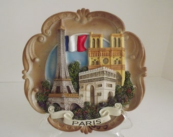 Paris 3D Colored Wood Resin Souvenir Plate, Wall Hanging, Francophile Home Decor, Circa 1960's