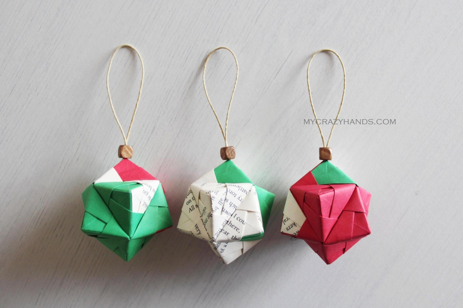 3 Christmas ornaments . origami kusudama . geometric ball