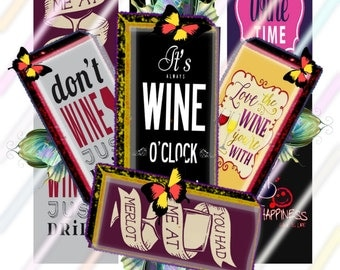 """Wine Love 1"""" x 2"""" Domino Images 4x6 Digital Collage Sheet Instant Download"""