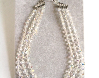 Vintage 1960's Crystal Beaded Necklace 3 Strand Necklace Wedding Jewelry