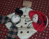 Primitive Melting Snowmen...Handmade Melting Snowman and his Snowlady..Country Snowman..