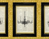 Elegant Chandelier Prints Triptych, Set of 3 Dictionary Page Book Art Print, Recycled Upcycled Book Page Art, Home or Office Wall Decor
