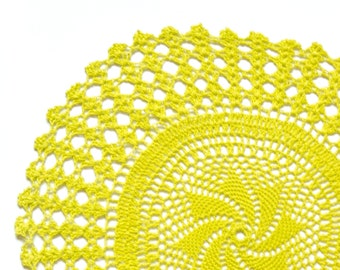 Yellow hand dyed Crochet Doily Vintage doily
