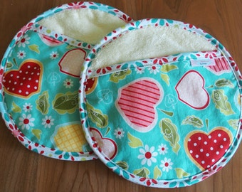 Aqua Blue, Red and Pink Ovenmitts with Apples, Set of 2, Potholders, Apple of My Eye
