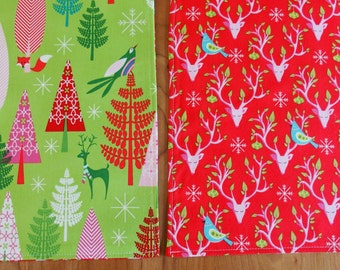 Red and Green Christmas Placemats (2) with Kitchy Trees, Reindeer, Partridges and Snowflakes, Festive Forest, Retro Christmas