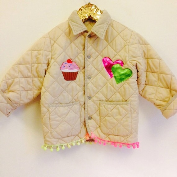 Kids Upcycled 6-7 Years Vintage Customised Padded Jacket Gilet Quilted Hearts Cupcake Unisex