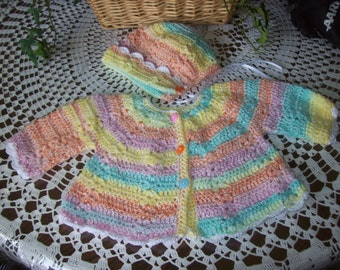 Sweater,Hat,Crocheted,Photos,Multi Color,Newborn to Three Months,Gift,Shower,Girls,Babies,Infants.
