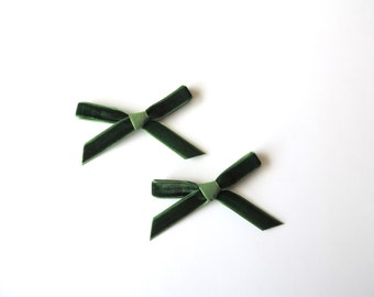 Forest Daphne Petite bow clips - Set of 2 - Pigtail bows - Mini Velvet hair clip set - dainty and Dapper -