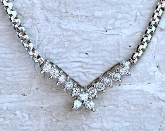 "Vintage ""V"" Shaped 14K White Gold Diamond Necklace - 0.33ct."