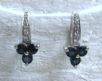 Beautiful Vintage 14K White Gold Diamond and Sapphire Cluster Earrings - 2.70ct.