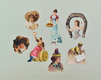 Antique ephemera, lot of 7 Victorian cut outs of pretty ladies