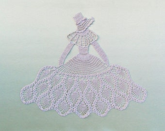 Vintage  large crocheted lace applique, figure of Victorian lady with bonnet and hoop skirt for a pillow top or bedspread