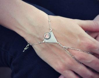 silver triangle pink opal slave bracelet, geometric bracelet, bracelet ring, ring bracelet, pink opal bracelet