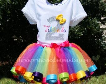 Rainbow Sparkle Candy land candyland Rainbow Ribbon Tutu First Birthday