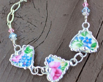 Bracelet, Broken China Jewelry, Broken China Bracelet, China Heart Charms, Pink and Blue Floral Chintz, Sterling Silver, Soldered Jewelry