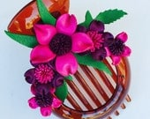 Kawaii Flora leather flower comb clip & bun holder - pink combination