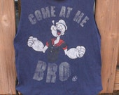 Medium Popeye the Sailor Upcycled Tshirt Bag / Project Bag / Sleepover Bag
