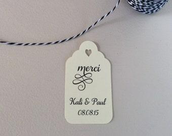 Thank You Favor Tag - Merci Favor Tag - Custom Tags - Wedding Favor Tags - Gift Tag - Gift Tag With Saying - Wedding Shower Tags