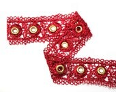 2 YARDS Red Lace Trim Ribbon with Gold Eyelets